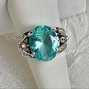 925 Silver Oval Cut Aquamarine Ring